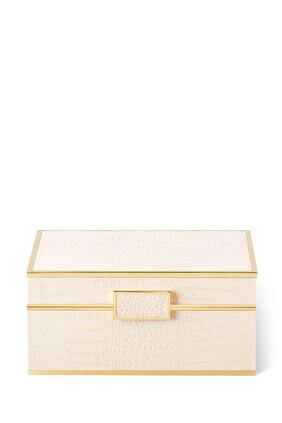 صندوق مجوهرات كلاسيكي صغير بنقشة جلد التمساح