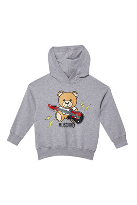 سويت شيرت بغطاء رأس وطبعة الدب تيدي وجيتار