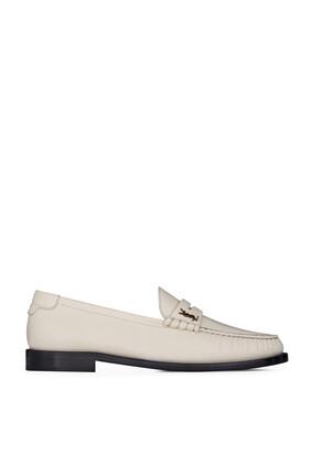 حذاء سهل الارتداء جلد بشعار الماركة