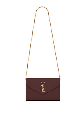 حقيبة صغيرة بسلسلة جلد محفور غران دي بودريه وتصميم مبطن