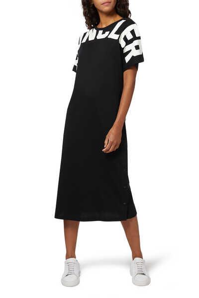 فستان جيرسيه متوسط الطول بشعار الماركة