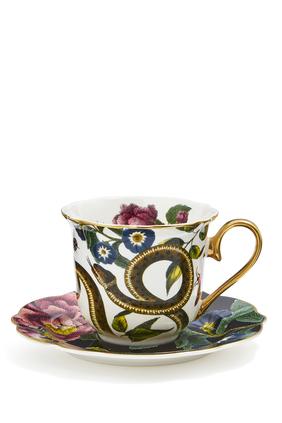 طقم فنجان شاي وطبق كريتشرز اوف كيوريوسيتي بنقشة جلد الأفعى