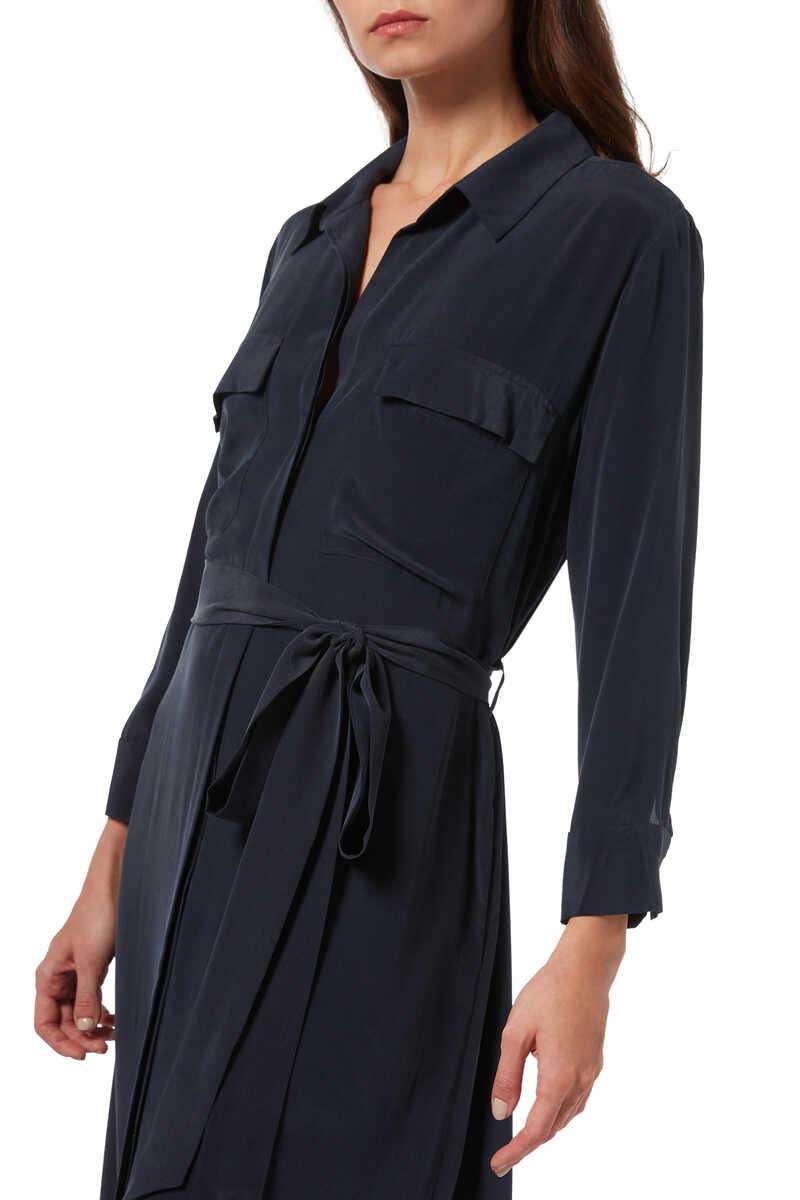 فستان كاميرون حرير بنمط قميص image number 4