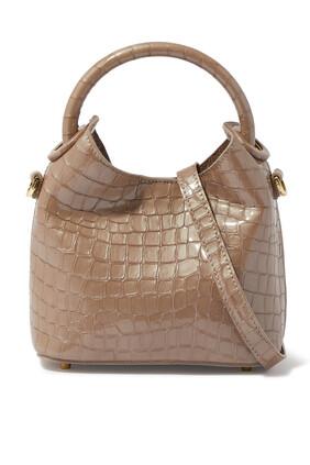 حقيبة مادلين جلد بنقشة جلد التمساح
