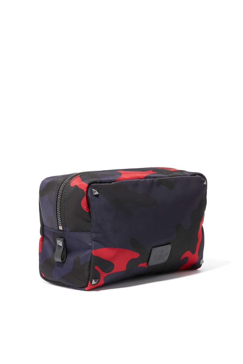 NAVY AND RED CAMOUFLAGE WASH BAG:Dark Green:One Size image number 2