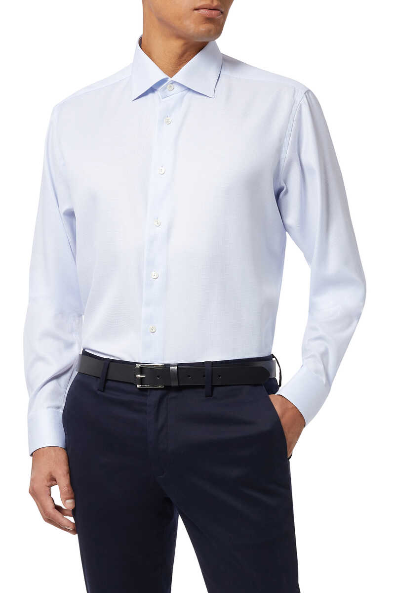 قميص بنقشة شيفرون بملمس بارز image number 5