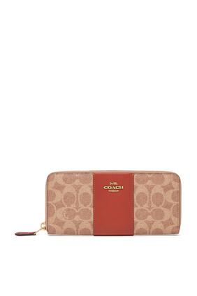 محفظة أكورديون رفيعة بسحّاب من القنب بشعار الماركة ومقسمة بألوان