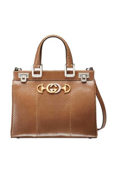 حقيبة يد زومي صغيرة جلد أفعى بيد علوية