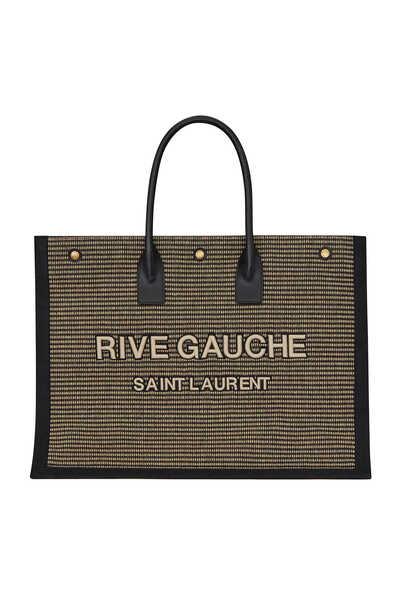 حقيبة يد قطن وكتان مطرزة باسم مجموعة Rive Gauche