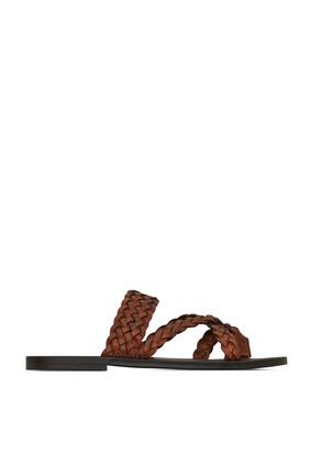 حذاء نيل مفتوح جلد مجدول