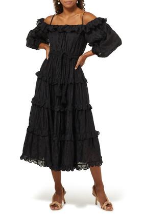 فستان ماي متوسط الطول منقط رامي