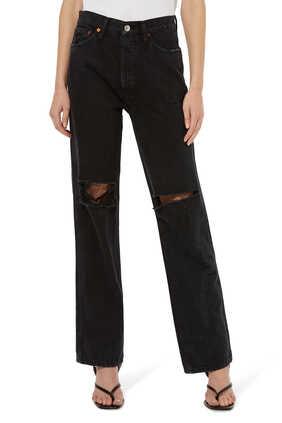 بنطال جينز بقصة مستقيمة وخصر مرتفع