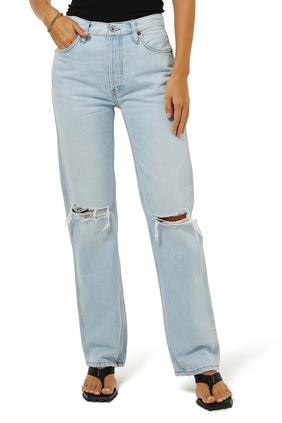 بنطال جينز ناينتيز بخصر مرتفع