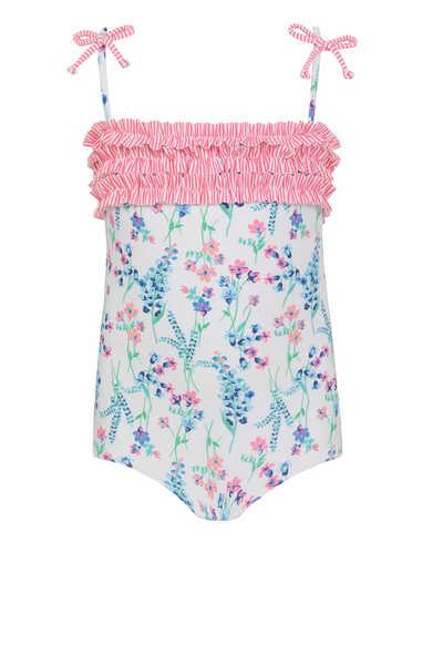 لباس سباحة قطعة واحدة بنقشة زهور إنجليزية