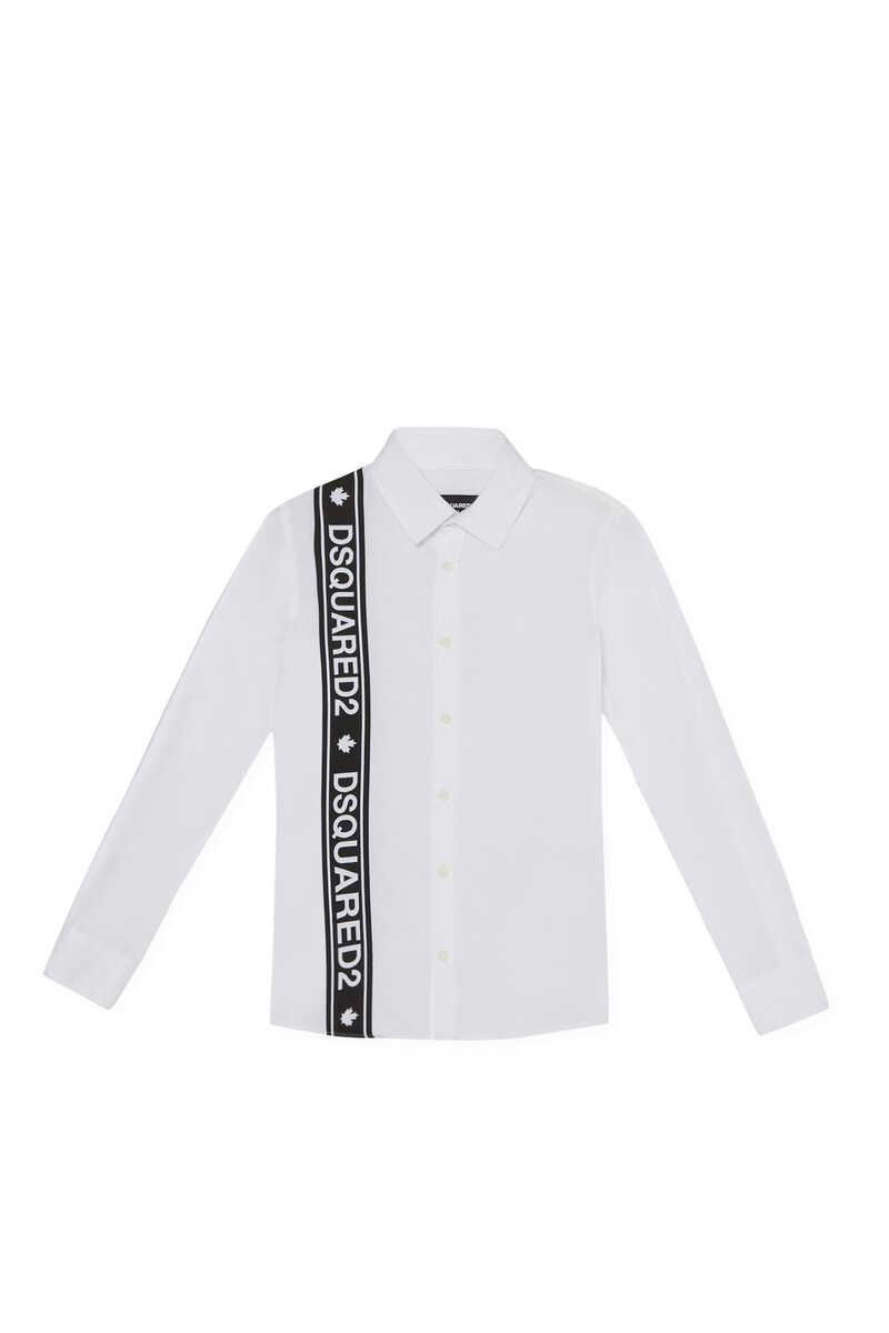 قميص بأكمام طويلة وشريط بشعار الماركة image number 1