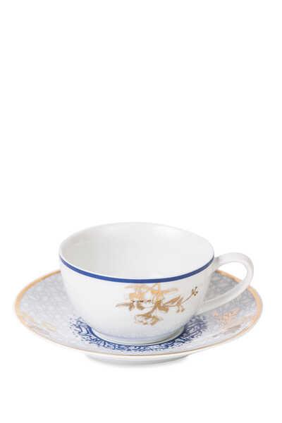 طقم فناجين وأطباق شاي كنوز بورسلين
