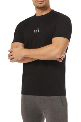 تي شيرت بطبعة شعار الماركة وكلمة Icon صغيرة