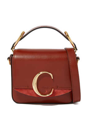 حقيبة ميني جلد بشعار C
