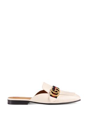 حذاء جلد مفتوح من الخلف بشعار الماركة