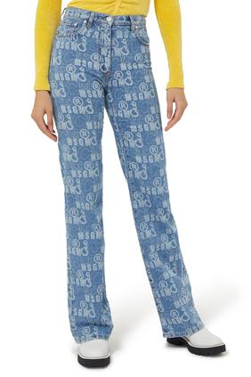 بنطال جينز بطبعة شعار الماركة