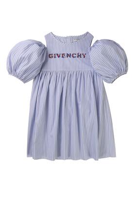 فستان مخطط بشعار الماركة
