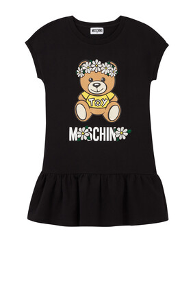 فستان صوف بطبعة دب تيدي وزهور