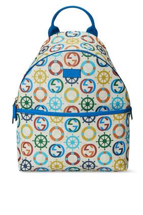 حقيبة ظهر بنقشة رموز بحرية وشعار GG