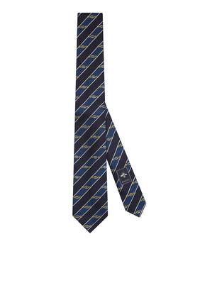 ربطة عنق بنقشة لجام حصان وشعار حرفي GG متداخلين