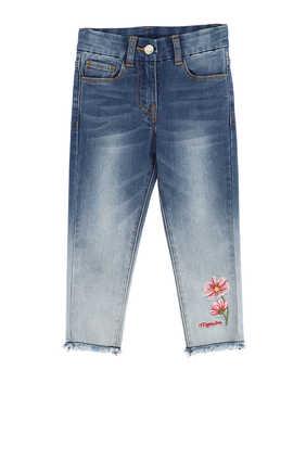 بنطال جينز دينم بزهور