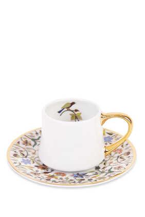 فنجان إسبريسو اسطواني وطبق بنقشة زهور