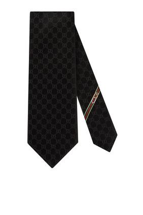 ربطة عنق حرير بنقشة حرفي GG