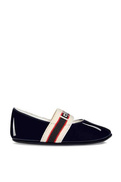 حذاء باليرينا بشريط بشعار الماركة