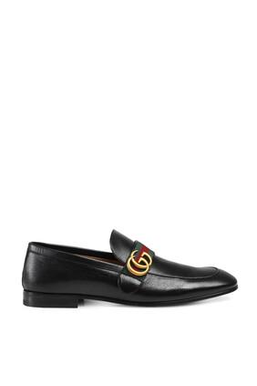 حذاء سهل الارتداء بشعار حرفي GG متداخلين وشريط ويب