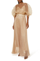 فستان سهرة بطيات بتصميم مروحة