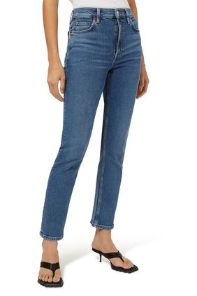 بنطال جينز سيفنتيز بقصة ساق مستقيمة