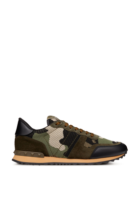 GREEN CAMOUFLAGE MESH AND SUEDE ROCK RUNNER:Green :46