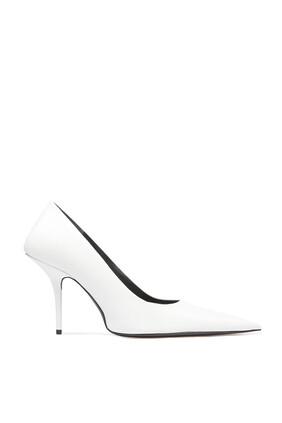 حذاء كلاسيك جلد نابا بمقدمة مدببة وكعب مربع