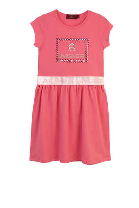 فستان بنمط قميص مزين بشعار الماركة