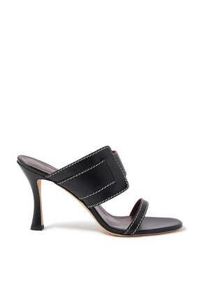 حذاء ماري مفتوح من الخلف جلد