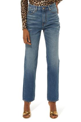 بنطال جينز بخصر مرتفع ولون باهت