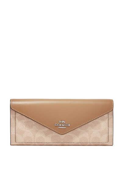 محفظة قنب بشعار الماركة بتصميم مقسم بألوان
