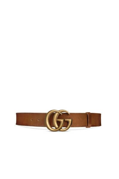 حزام جلد عريض مزين بحرفي G