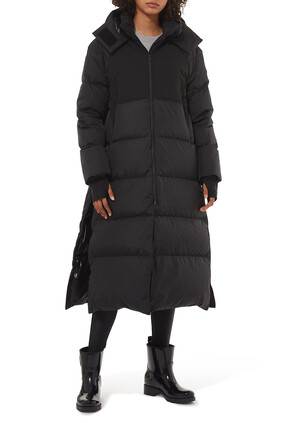 معطف هيليوتروب طويل مبطن بالزغب