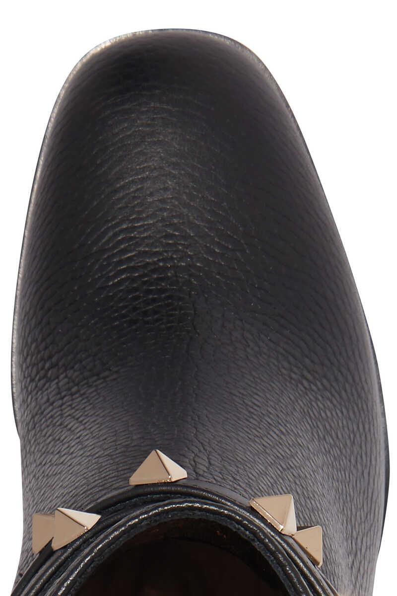 حذاء بوت فالنتينو غارافاني جلد بحلي هرمية image number 4