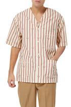 قميص بولينغ مخطط مزين بنقشة حرفي GG