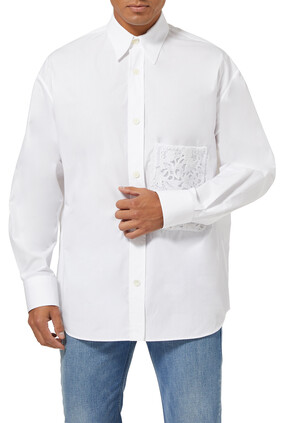 قميص بوبلين بجيب دانتيل