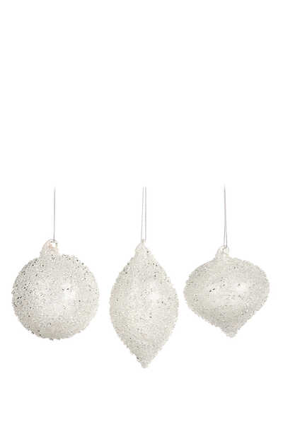طقم كرات زجاجية مرصعة لشجرة الكريسماس، 3 قطع