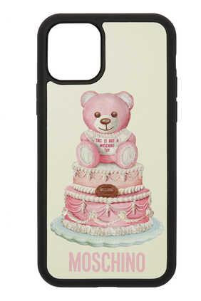 غطاء هاتف آيفون 11 برو ماكس مزين بدب وكعكة