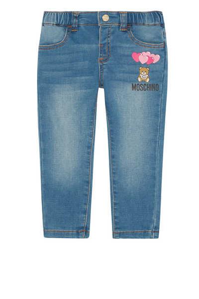 بنطال جينز دينم بطبعة قلوب ودب
