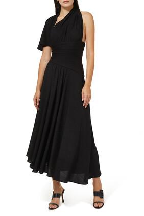 فستان طويل بتصميم غير متماثل